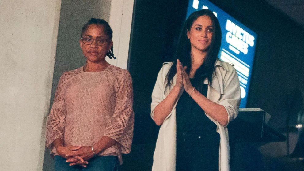 Meghan Markle and her mother Doria Ragland watch the closing ceremonies for the Invictus Games in Toronto, Canada, Sept. 30, 2017.