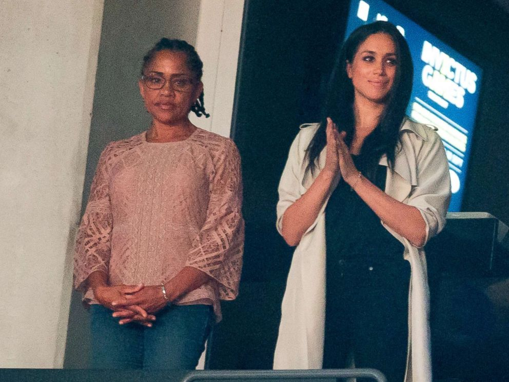 PHOTO: Meghan Markle and her mother Doria Ragland watch the closing ceremonies for the Invictus Games in Toronto, Canada, Sept. 30, 2017.