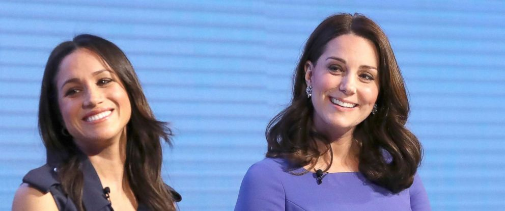 PHOTO: Meghan Markle and Catherine, Duchess of Cambridge, attend the first annual Royal Foundation Forum held at Aviva, Feb. 28, 2018, in London.