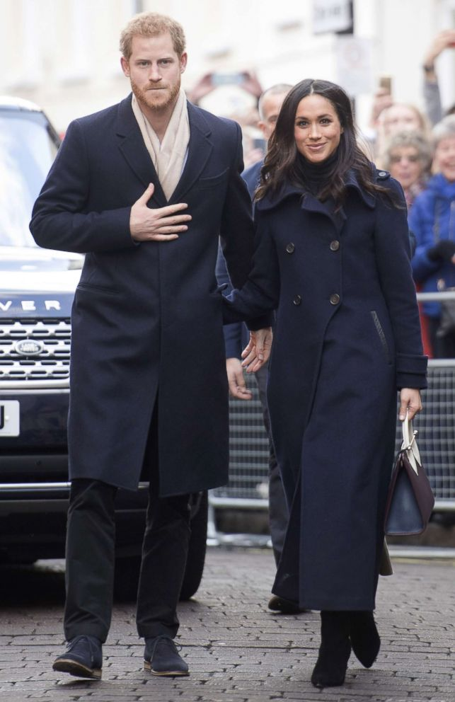 PHOTO: Prince Harry and his fiancee, US actress Meghan Markle, visit Nottingham for their first official public engagement together, Dec. 1, 2017 in Nottingham, England.