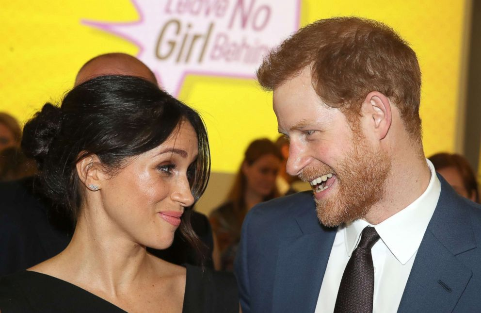 PHOTO: Britains Prince Harry and his fiancee, Meghan Markle, attend a reception for Womens Empowerment at the Royal Aeronautical Society in central London, April 19, 2018.