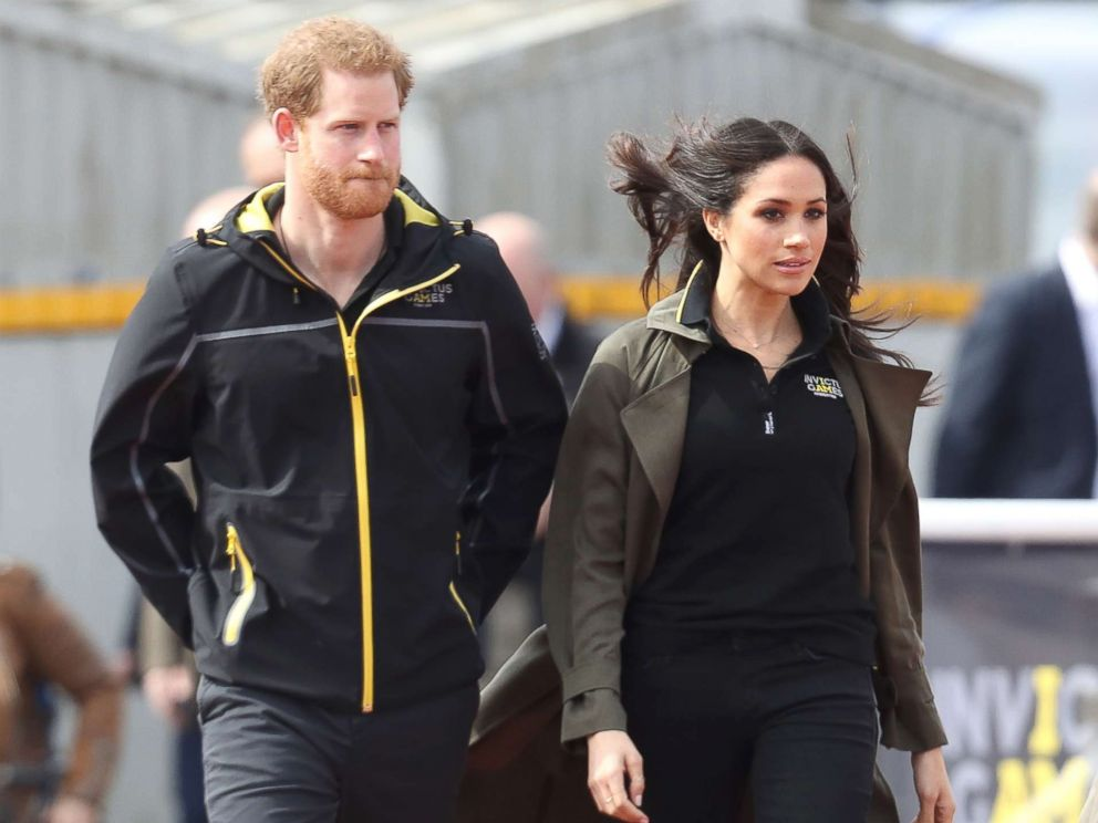 PHOTO: Prince Harry, Patron of the Invictus Games Foundation, and Meghan Markle attend the U.K. Team Trials for the Invictus Games Sydney 2018 at the University of Bath Sports Training Village, April 6, 2018, in Bath, England.