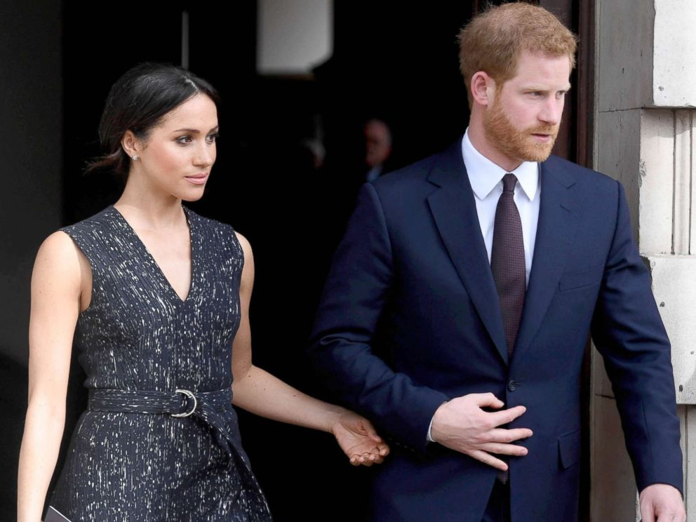 PHOTO: Prince Harry and Meghan Markle leaving after attending a memorial service at St Martin-in-the-Fields in Trafalgar Square, London, April 23, 2018, to commemorate the 25th anniversary of the murder of Stephen Lawrence.