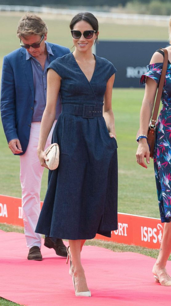 PHOTO: Meghan, the Duchess of Sussex arrives for the the Sentebale Polo Cup at Berkshire Polo Club, July 26, 2018, in Winkfield, Windsor, U.K.