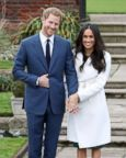 Prince Harry and actress Meghan Markle during an official photocall to announce their engagement at The Sunken Gardens at Kensington Palace on Nov. 27, 2017 in London.