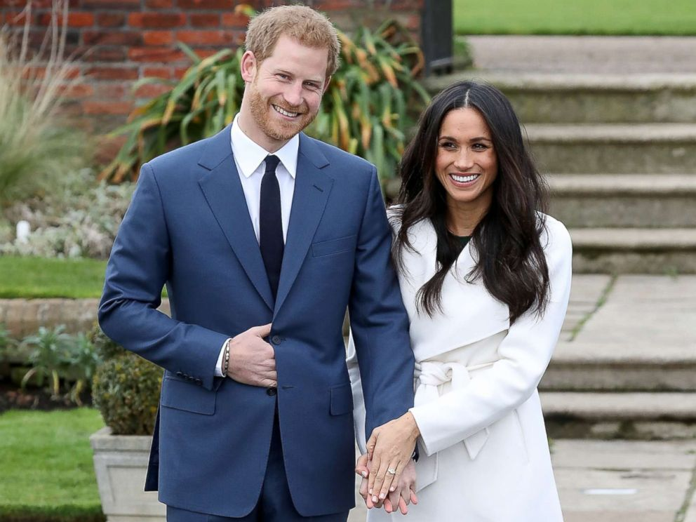 PHOTO: Prince Harry and actress Meghan Markle during an official photocall to announce their engagement at The Sunken Gardens at Kensington Palace on Nov. 27, 2017 in London.