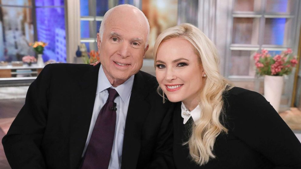 "Senator John McCain ade a special visit to ""The View,"" Oct. 23, 2017, for his daughter Meghan McCain's birthday."
