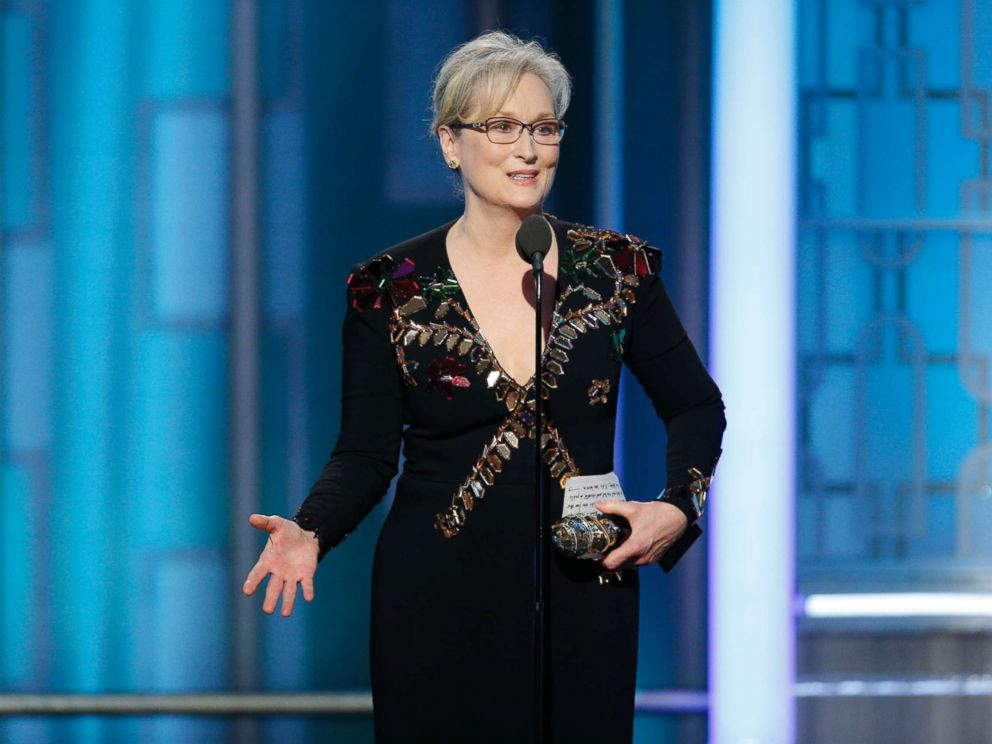 PHOTO: Meryl Streep accepts the Cecil B. DeMille Award at the 74th Annual Golden Globe Awards in Beverly Hills, Calif., Jan. 8, 2017.