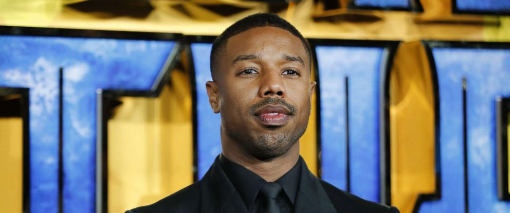 PHOTO: Michael B. Jordan poses on arrival for the European Premiere of Black Panther in central London on Feb. 8, 2018.