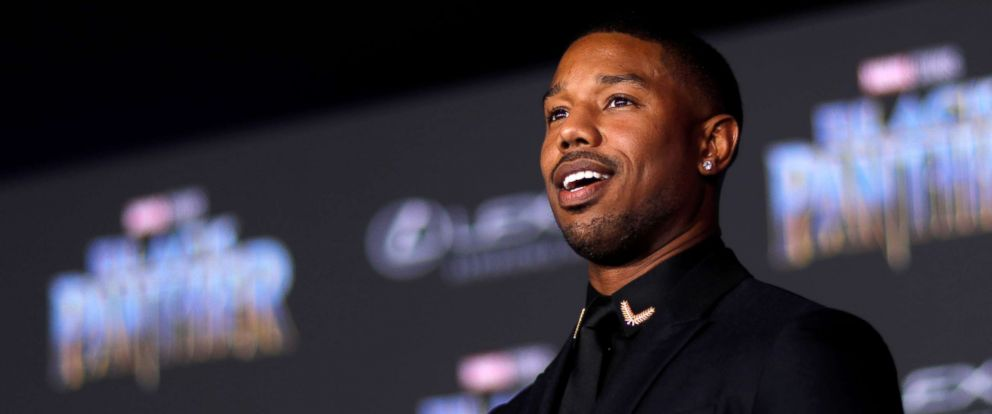 "PHOTO: Michael B. Jordan poses at the premiere of ""Black Panther"" in Los Angeles, Jan. 29, 2018."