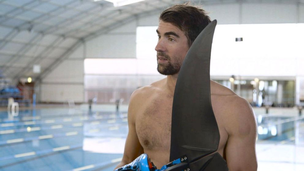 "Michael Phelps trained with a monofin for his race against a great white shark for Discovery Channel's ""Shark Week."""