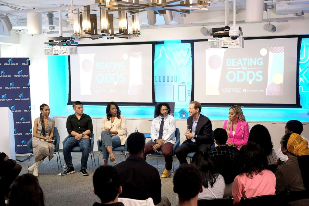 PHOTO: Elaine Welteroth, recent college graduate Ryan Liu, former First Lady Michelle Obama, Daveed Diggs, Daniel Porterfield, and La La Anthony speak at an event to support first-generation college-bound students on June 14, 2018, in Washington, D.C.
