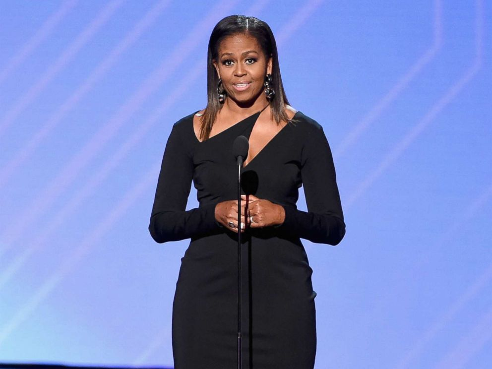 PHOTO: Michelle Obama speaks onstage at The 2017 ESPYS at Microsoft Theater, July 12, 2017, in Los Angeles.