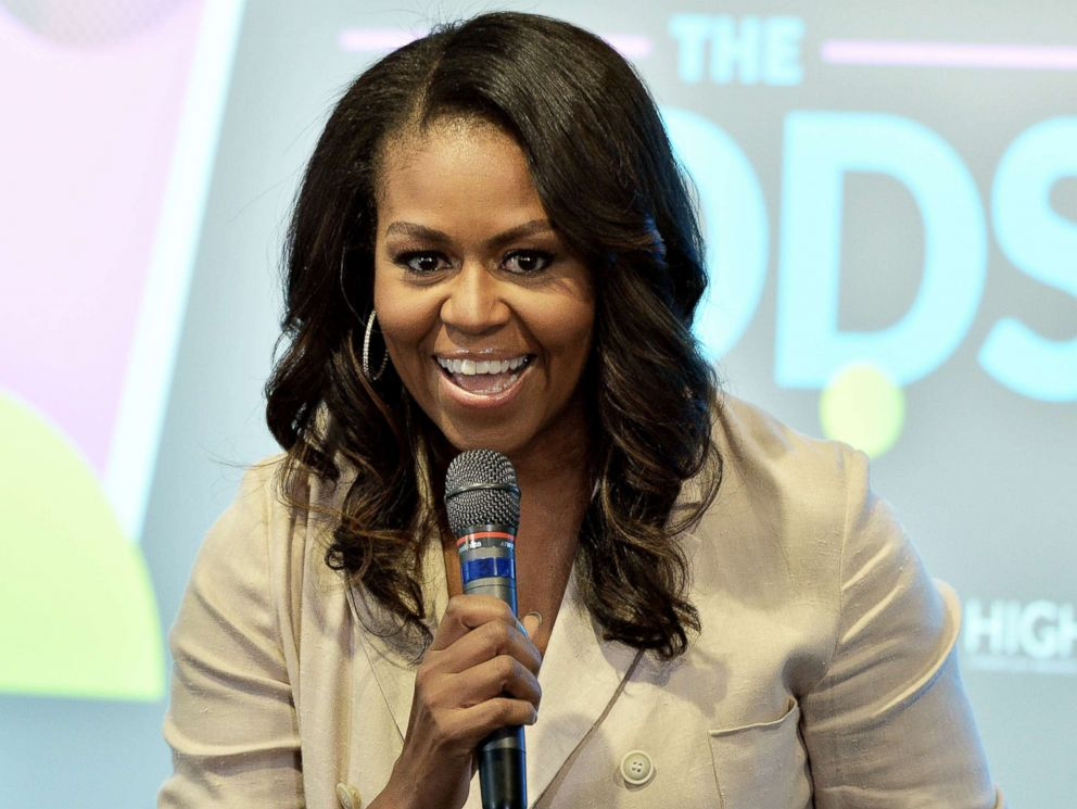 PHOTO: Former First Lady Michelle Obama talks to the audience at the Reach Higher Initiative Beating the Odds Summit to support first-generation college-bound students on June 14, 2018, in Washington, D.C.