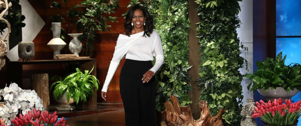 "PHOTO: Michelle Obama appears on ""The Ellen DeGeneres Show"" at the Warner Bros. lot in Burbank, Calif."