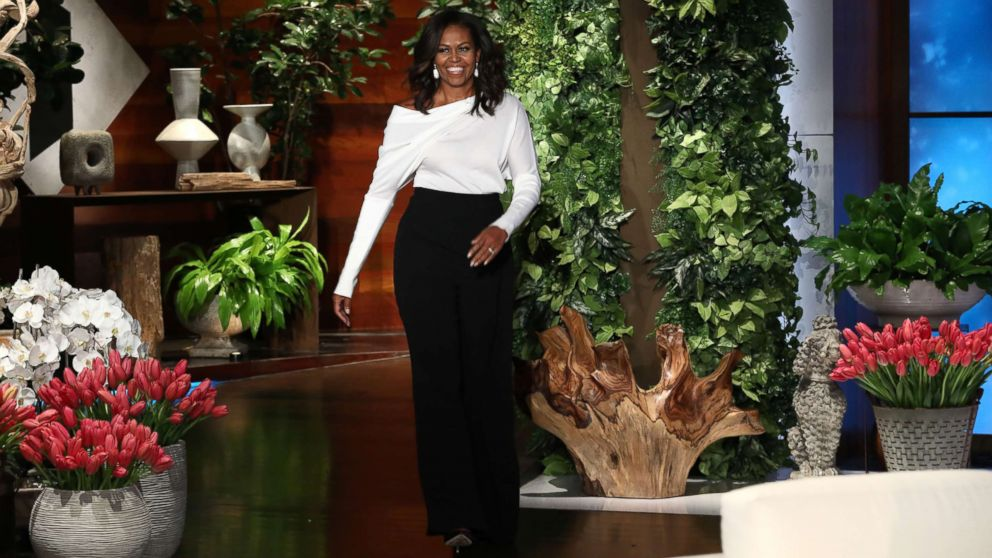 "Michelle Obama appears on ""The Ellen DeGeneres Show"" at the Warner Bros. lot in Burbank, Calif."