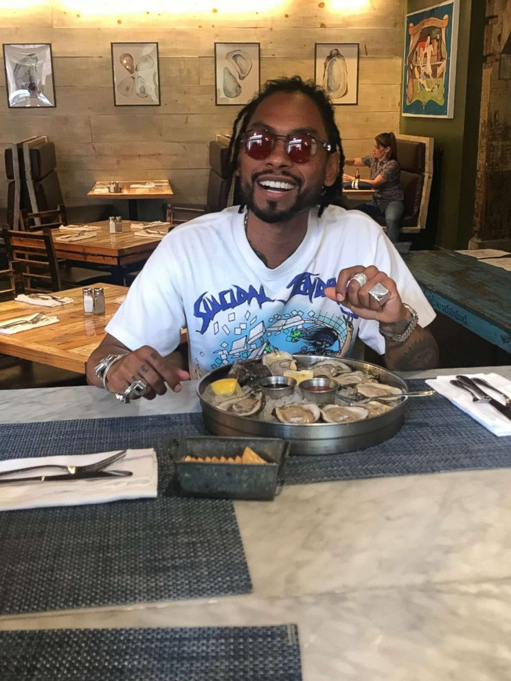 PHOTO: R&B super-star Miguel talked music with GMA over a plate of oysters at popular New Orleans restaurant Peche.