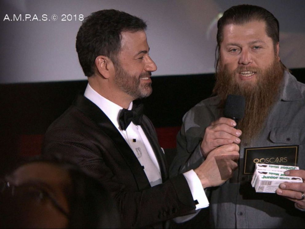 PHOTO: Mike Young was surprised by Oscars host Jimmy Kimmel on March 4, 2018.