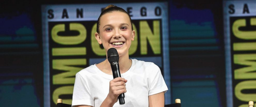 """PHOTO: Actress Millie Bobby Brown participates in a panel for """"Godzilla: King of the Monsters"""" during Comic Con in San Diego, July 21, 2018."""