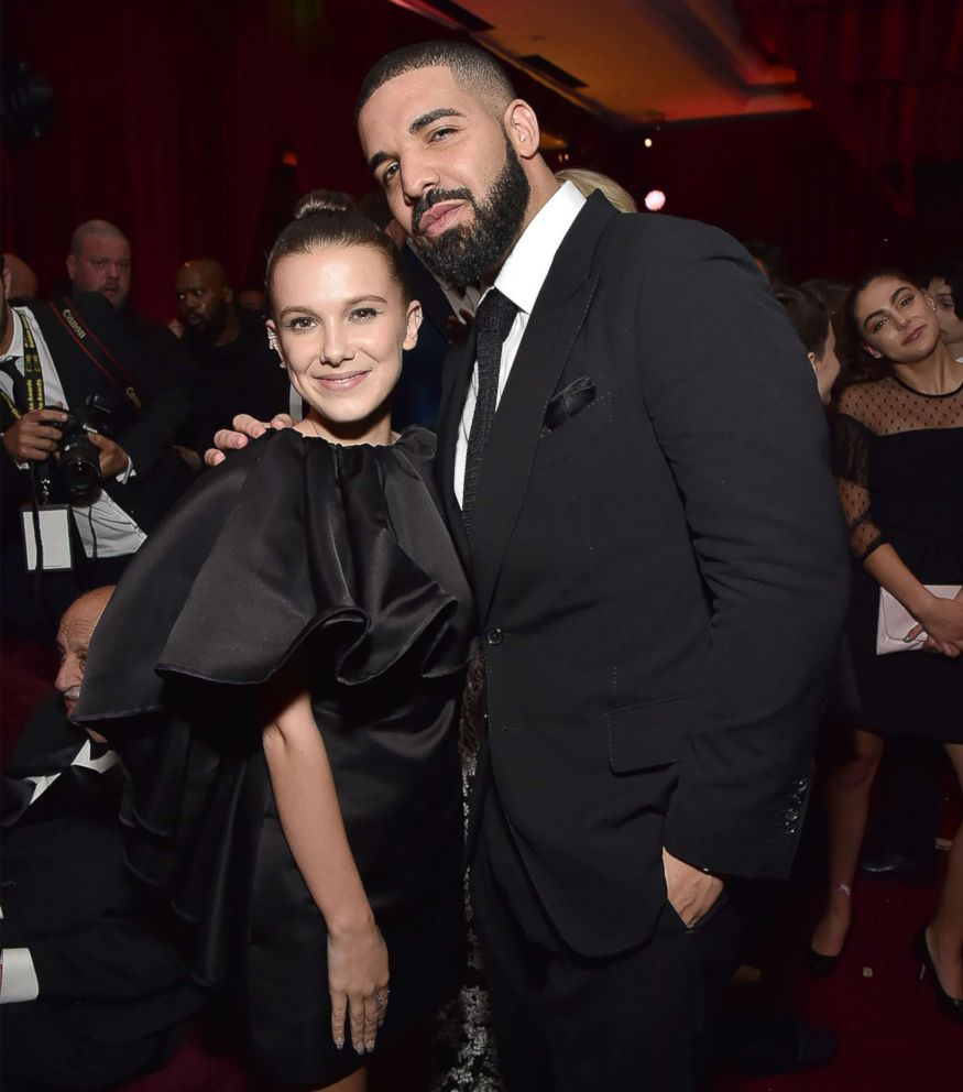Millie Bobby Brown and Drake attend an event at the Waldorf Astoria Beverly Hills on Jan. 7, 2018 in Beverly Hills, Calif.