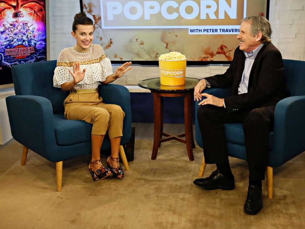 PHOTO: Millie Bobby Brown appears on Popcorn with Peter Travers at ABC News studios, Oct. 30, 2017, in New York City.