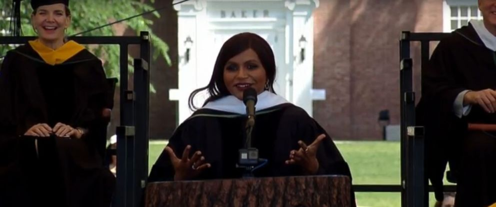 PHOTO: Mindy Kaling spoke at the Dartmouth College commencement ceremony, June 10, 2018.