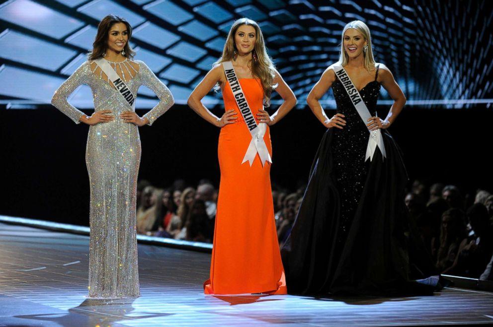 PHOTO: Miss Nevada-Carolina Urrea, Miss North Carolina-Caelynn Miller-Keyes and Miss Nebraska- Sarah Rose Summers at the 2018 MISS USA Competition airing on May 21, 2018 on FOX.