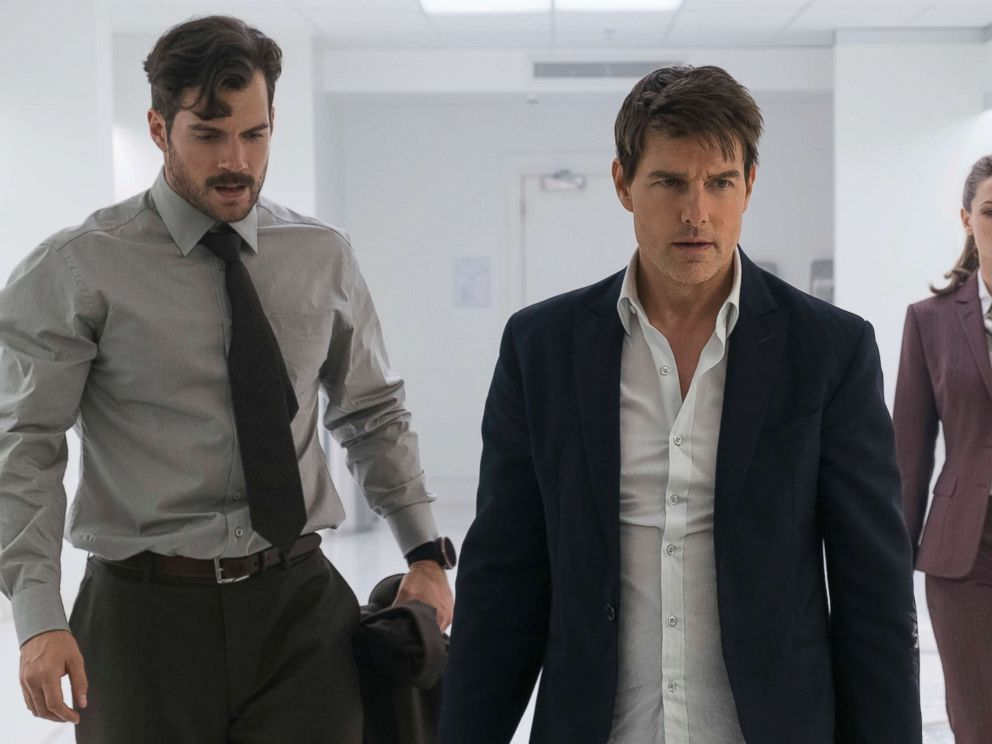 PHOTO: This image released by Paramount Pictures shows, Henry Cavill, from left, Tom Cruise and Rebecca Ferguson in a scene from Mission: Impossible - Fallout.