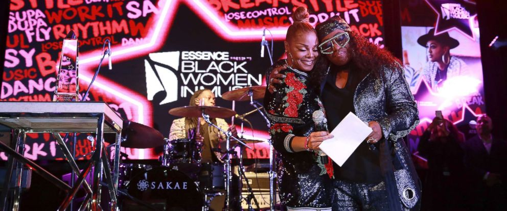 PHOTO: Singers Janet Jackson and Missy Elliott attend the ninth annual Essence Black Women in Music event at the Highline Ballroom, Jan. 25, 2018, in New York.