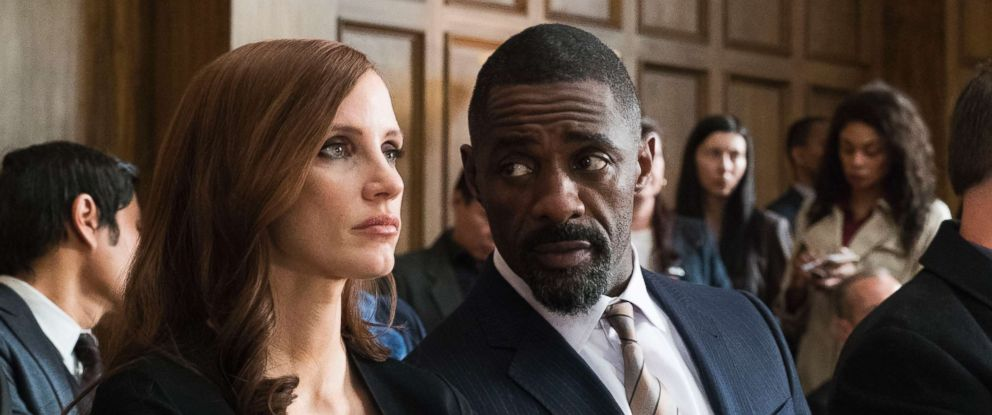 "PHOTO: Jessica Chastain and Idris Elba in a scene from ""Mollys Game."""