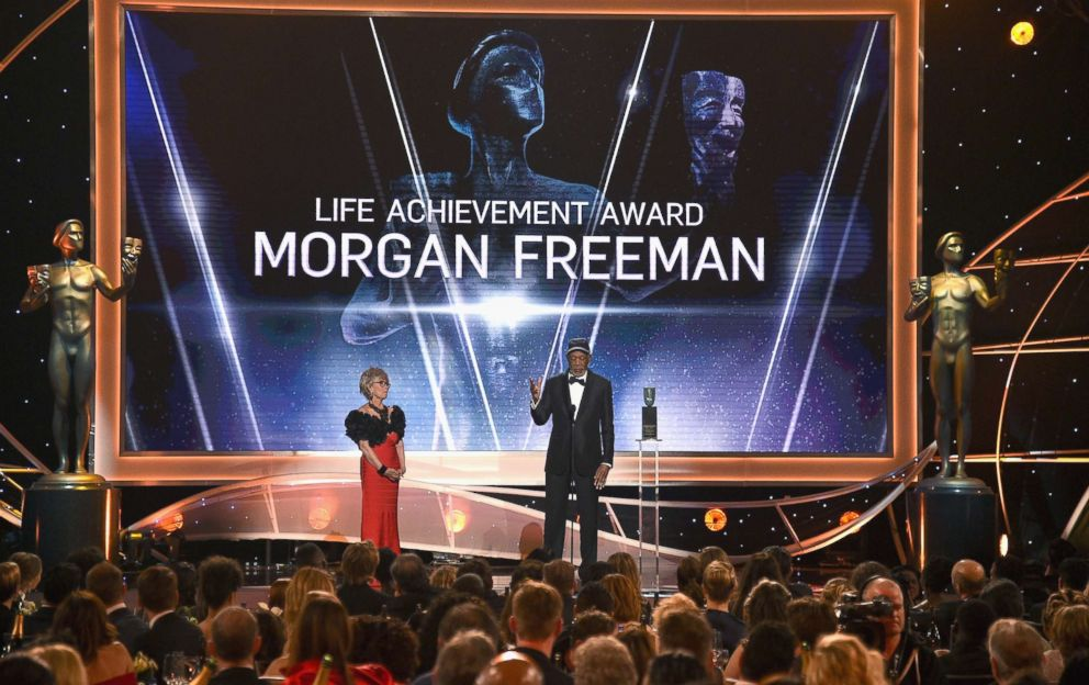 PHOTO: Morgan Freeman accept a lifetime achievement award onstage during the 24th Annual Screen Actors Guild Awards at The Shrine Auditorium, Jan. 21, 2018 in Los Angeles, Calif. Actress Rita Moreno is at left.