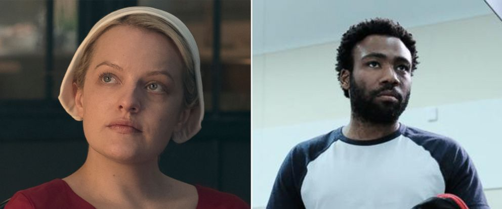 """PHOTO: Elisabeth Moss in season 2 of Hulus """"The Handmaids Tale"""" and Donald Glover in a scene from FXs """"Atlanta."""""""