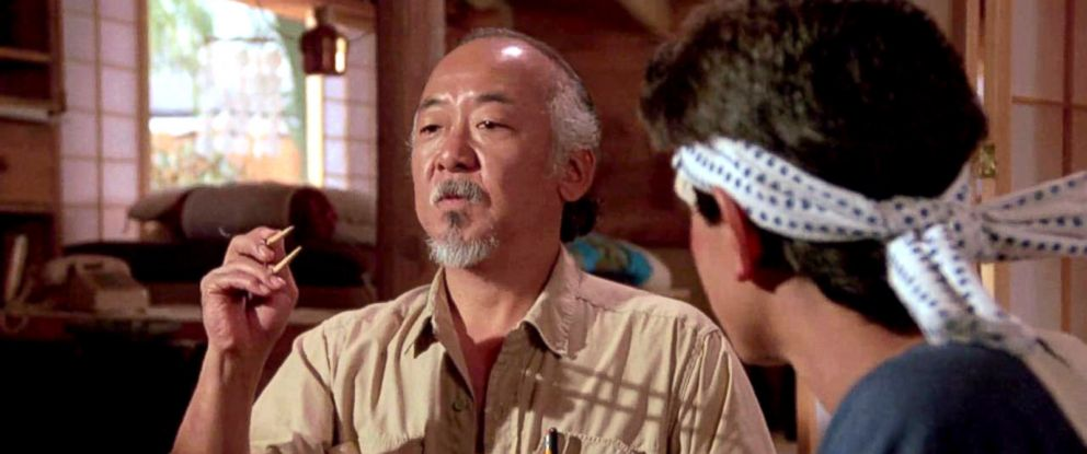 PHOTO: Pat Morita and Ralph Macchio in a scene from the film The Karate Kid, 1984