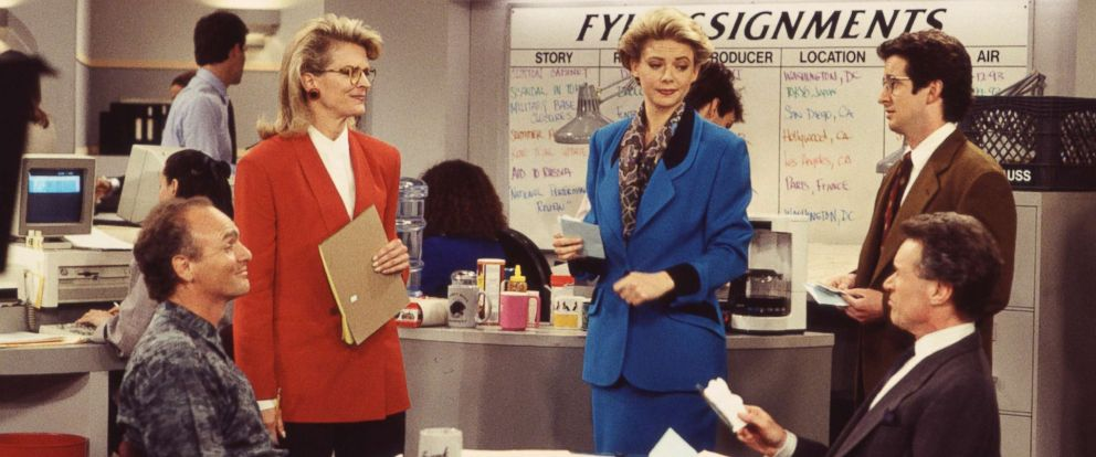 "PHOTO: Candice Bergen and the cast of ""Murphy Brown"" are pictured on-set in 1993."