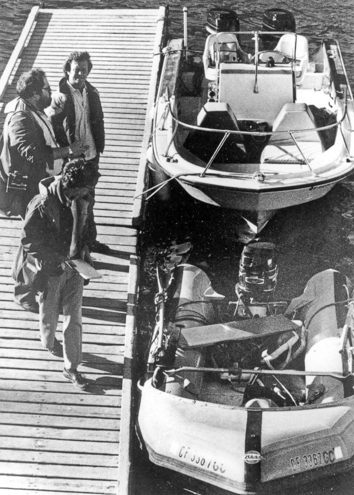 "The ""Prince Valiant,"" the inflatable dinghy used by Natalie Wood, moored at the harbor in Avalon, Calif., Nov. 30, 1981, after it washed up on the rocks on Santa Catalina Island. Patrolmen discovered the actress' body off of Catalina Island."