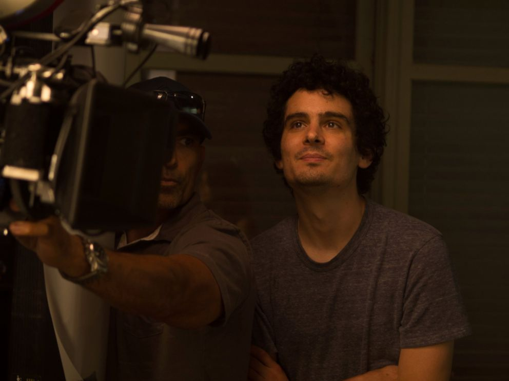 Director Damien Chazelle on the set of La La Land.