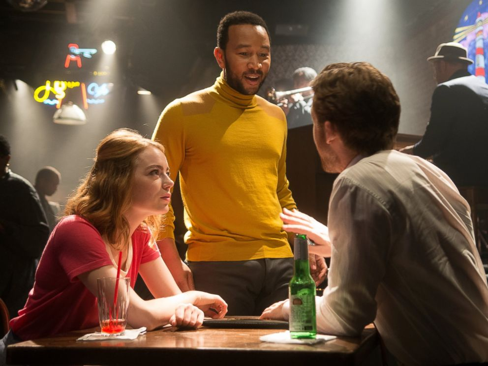 Emma Stone, John Legend and Ryan Gosling star in La La Land.