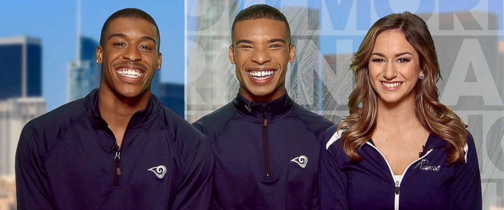 PHOTO: Qunton Peron and Napolean Jinnies are the first ever NFL male cheerleaders to join the LA Rams.