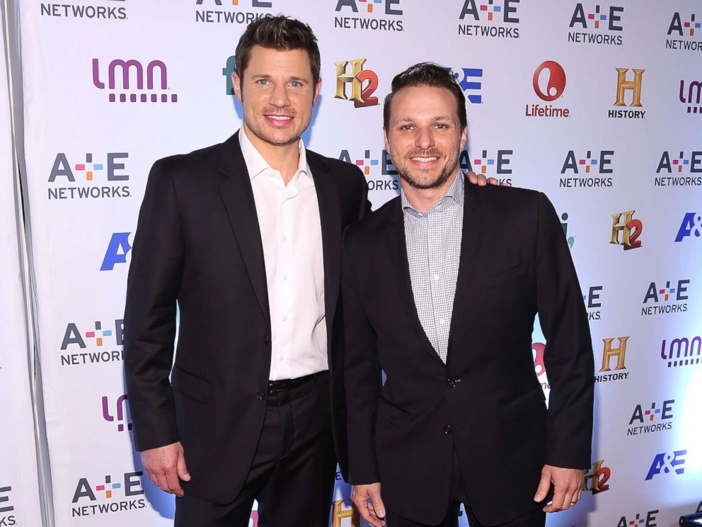 PHOTO: Nick Lachey and Drew Lachey attend the 2014 A+E Networks Upfronts on May 8, 2014 in New York City.