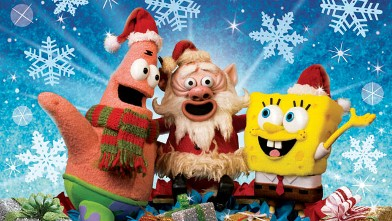 "PHOTO: Patrick, Santa Claus and Spongebob Squarepants in ""It's A Spongebob Christmas."""