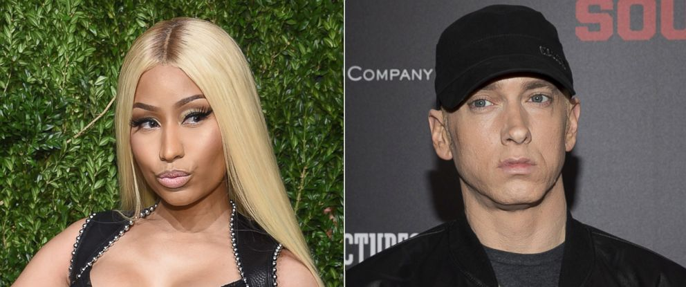 PHOTO: Pictured (L-R) are Nicki Minaj, Nov. 6, 2017 and Eminem, July 20, 2015, in New York City.