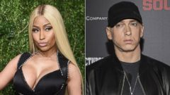 PHOTO: Pictured (L-R) are Nicki Minaj, Nov. 6, 2017 and Eminem, July 20, 2015, in New York City.