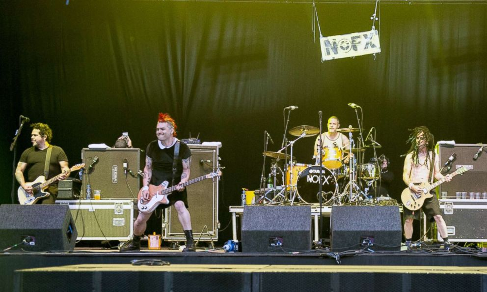 PHOTO: In this file photo, Aaron El Hefe Abeyta, Fat Mike Burkett, Erik Smelly Sandin and Eric Melvin of NOFX perform onstage on Day 2 of Download Festival 2016 at Donnington Park, June 11, 2016, in Donnington, England.