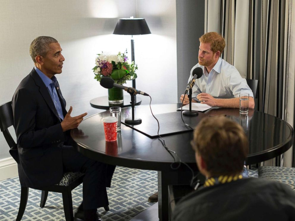 PHOTO: In this undated photo issued on Sunday Dec. 17, 2017 by Kensington Palace courtesy of the Obama Foundation, Britains Prince Harry, right, interviews former U.S. President Barack Obama to be broadcast, Dec. 27, 2017.