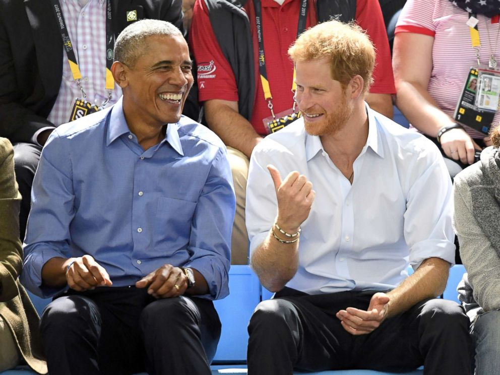 PHOTO: Barack Obama and Prince Harry attend the Basketball on day 7 of the Invictus Games Toronto 2017 at the Pan Am Sports Centre, Sept. 29, 2017, in Toronto.