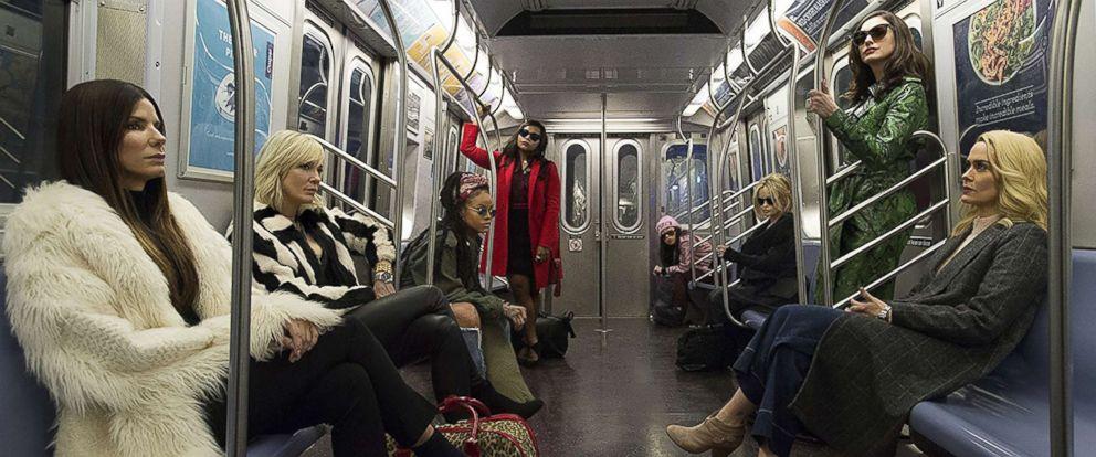 "PHOTO: Sandra Bullock, Helena Bonham Carter, Cate Blanchett, Anne Hathaway, Sarah Paulson, Mindy Kaling, Rihanna, and Awkwafina in a scene from ""Oceans 8."""