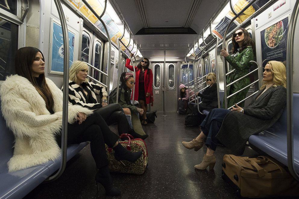 PHOTO: Sandra Bullock, Helena Bonham Carter, Cate Blanchett, Anne Hathaway, Sarah Paulson, Mindy Kaling, Rihanna, Awkwafina in a scene from Oceans 8.