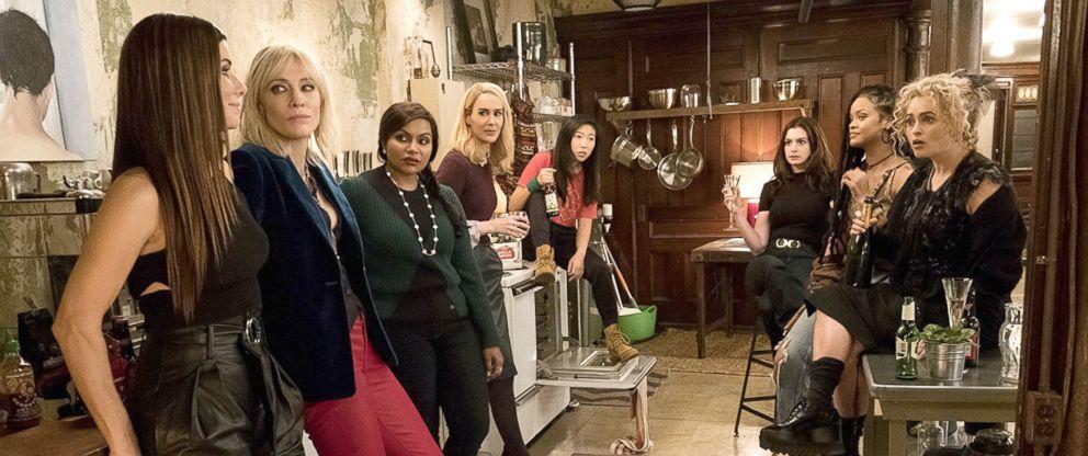 PHOTO: Sandra Bullock, Cate Blanchett, Mindy Kaling, Sarah Paulson, Awkwafina, Anne Hathaway, Rihanna and Helena Bonham Carter in a scene from Oceans 8.