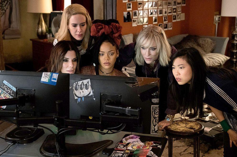PHOTO: Sandra Bullock, Sarah Paulson, Rihanna, Cate Blanchett and Awkwafina in a scene from Oceans 8.