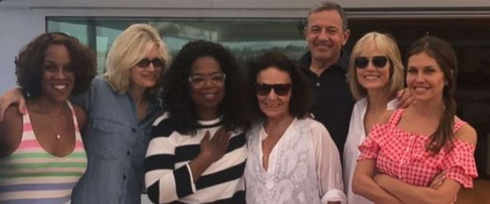 """PHOTO: David Geffen shared this photo on his Instagram account with the caption, """"Bob, Willow, Gayle, Oprah, Diane, Dasha, DVF. A great week in Sicily."""""""
